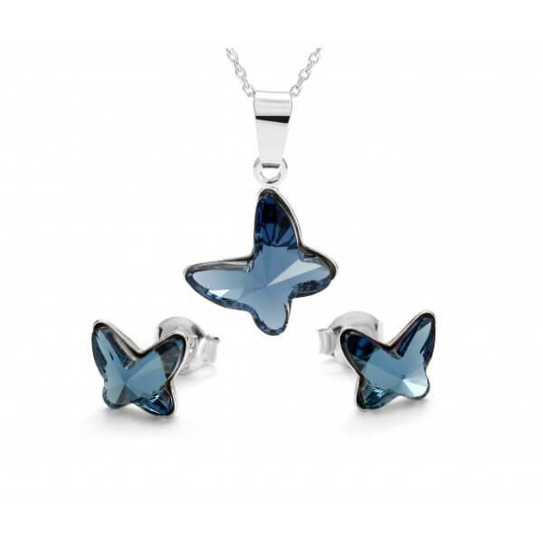 Комплект обеци и колие Пеперуди в синьо